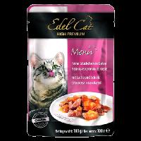 """Влажный корм """"Эдель Кэт"""" 100г пауч д-кошек Нежные кусочки в желе лосось-камбала"""