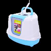 """Moderna Туалет-домик """"Flip"""" угловой с угольным фильтром 55*45*38см небесно-голубой"""