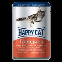 """Консервы """"Хеппи Кэт"""" 100г пауч д-кошек кусочки в желе говядина-печень-горох"""