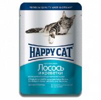 """Консервы """"Хеппи Кэт"""" 100г пауч д-кошек кусочки в желе лосось-креветки"""
