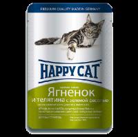 """Консервы """"Хеппи Кэт"""" 100г пауч д-кошек кусочки в желе ягненок-теленок-зеленая фасоль"""