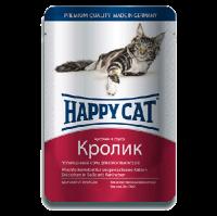 """Консервы """"Хеппи Кэт"""" 100г пауч д-кошек кусочки в соусе кролик"""