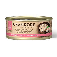 "Консервы ""GRANDORF"" 70г д-кошек 75% мяса куриная грудка-мясо краба"