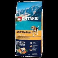 """Сухой корм """"Ontario"""" Adult Medium 12кг д-собак 7 видов рыб-рис"""