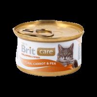 """Консервы """"Брит"""" Care Cat  80г д-кошек тунец-морковь-горошек"""
