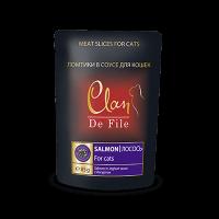 """Консервы """"Клан Де Феле"""" пауч 85г д-кошек с лососем в йогуртовом соусе"""