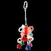 """Игрушка для птиц """"Подвеска цветная плетеная пласт.на цепочке с 4 колок."""" 13см (1158SY)"""