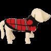 Свитер7429В-1  10+шарф черно-красный с белым ,клетка  S