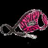 "Рулетка ""Флекси"" Pink Zebra Small ремень 3м до 12кг с кожан.отдел."
