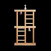 """Игрушка для птиц """"Лестница двойная с бубен. и колок."""" дерево (ИП-062)"""