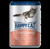 """Влажный корм """"Хеппи Кэт"""" 100г пауч д-кошек кусочки в соусе говядина-птица"""