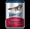 """Влажный корм """"Хеппи Кэт"""" 100г пауч д-кошек кусочки в соусе кролик"""