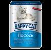 """Влажный корм """"Хеппи Кэт"""" 100г пауч д-кошек кусочки в соусе лосось"""