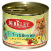 """Консервы """"Беркли"""" 200г д-кошек индейка с лесными ягодами"""