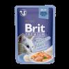 """Консервы """"Брит"""" Premium пауч 85г д-кошек Кусочки феле лосося в желе"""