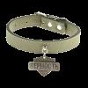 Ошейник Пижон нубук с медальоном Верность темно-зеленый с фурнитурой серебро (714191)